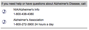 Alzheimer's Help Phone Contacts